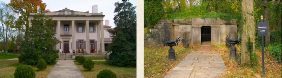 Belle Meade in fall, and the old Belle Meade family mausoleum