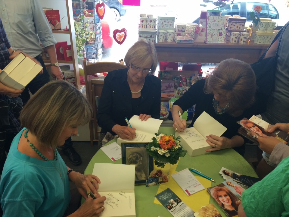 Signing books on Germany Book Tour with Elizabeth Musser & Lynn Austin