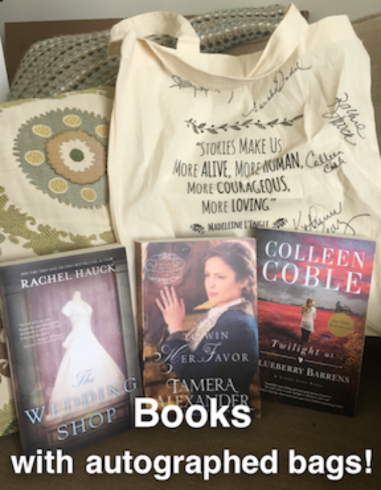 Congrats to the following gals who won autographed book bags signed by me, Colleen Coble, Rachel Hauck, Denise Hunter, Sarah Ladd, and more along with three books each: Baley Field, Myra Johnson, Cora Hannold, Bonnie Sue Hempel, Katie Melton