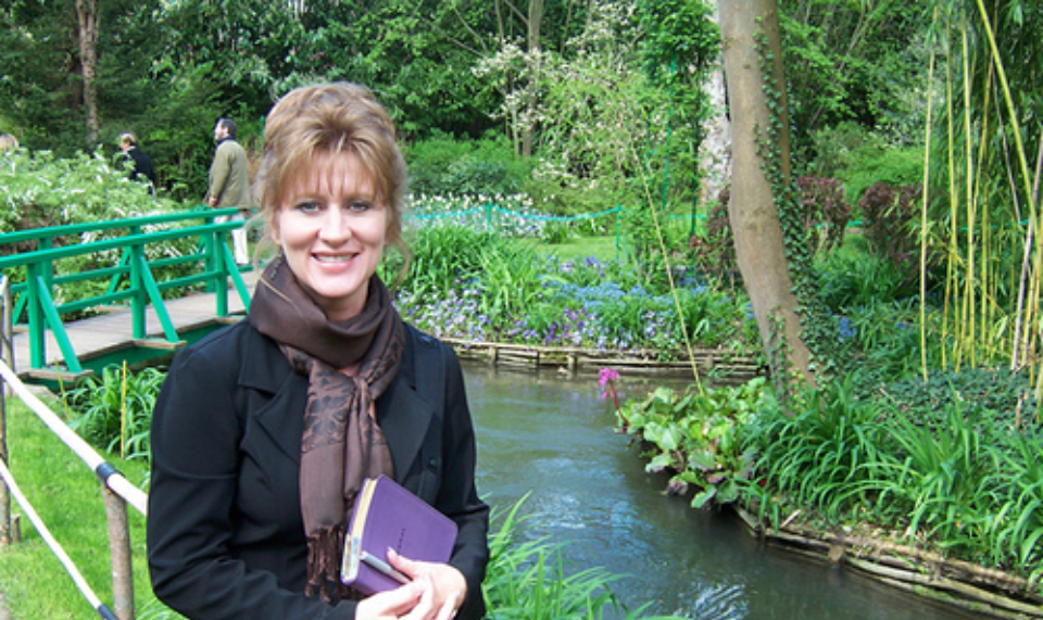 At Claude Monet's gardens in Giverny, France in 2006 doing research for my novel Remembered. The story opens in Cemetery Montmartre, which Joe and I visited while there.