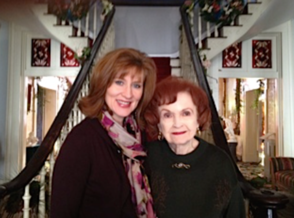 "I had the thrill of meeting a descendent of Adelicia Acklen's, Mrs. Beverly Kaiser. Beverly (who has read A Lasting Impression and ""absolutely loved it!"") met me at the mansion one afternoon for a visit and some pictures. It was such an honor to meet her."