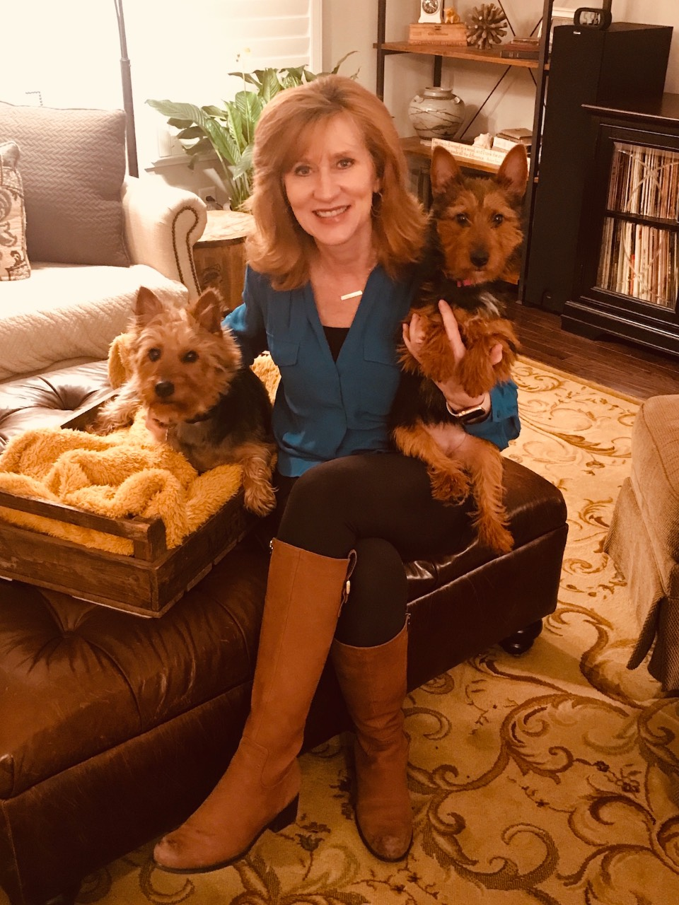 Tamera with Murphy (left) and Bailey (right) her sweet but slightly rowdy Australian Terriers (emphasis on terriers!)